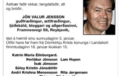 Jón Valur Jensson: Hinsta kveðja